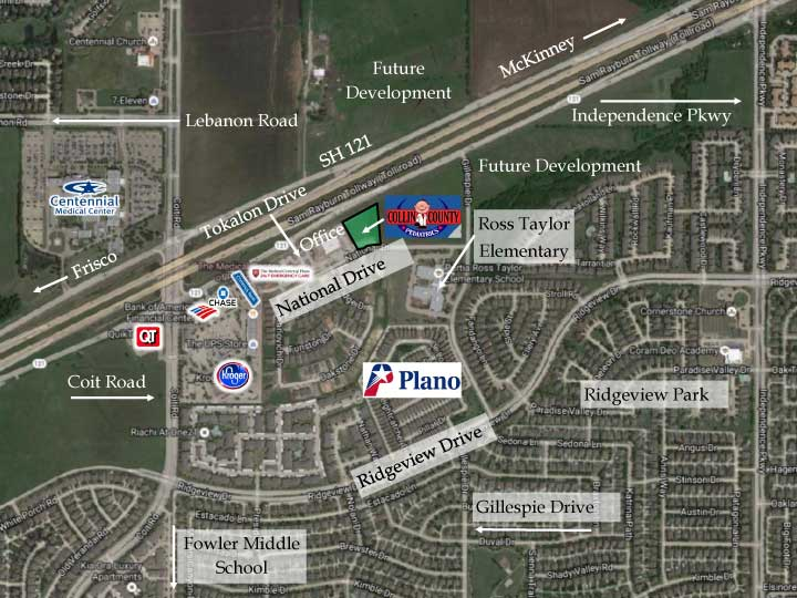 Map of New Collin County Office Location